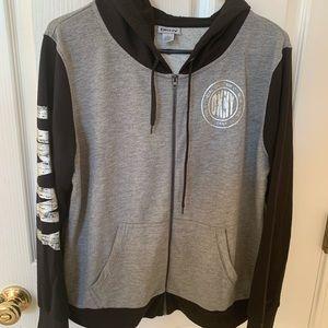 DKNY gray zip-up hoodie